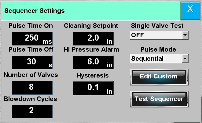 settings sequencer pop up
